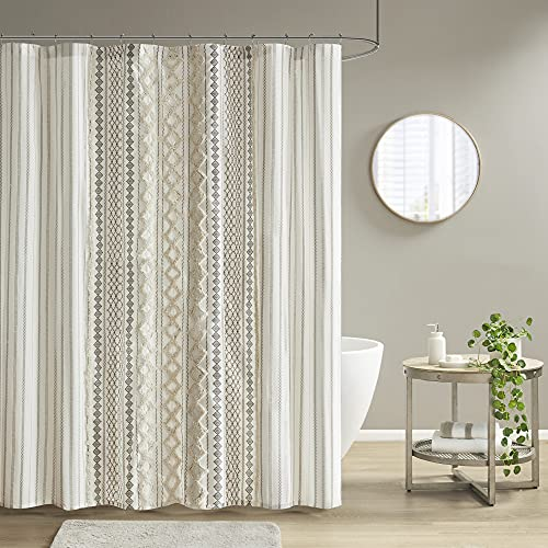 """INK+IVY Imani Tufted Chenille 100% Cotton Shower Curtains Machine Washable, Modern Home Bathroom Décor Bathtub Privacy Screen, 72"""" x 72"""", Ivory"""