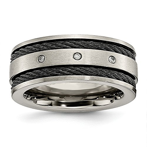 ICE CARATS Titanium Black Plated Cable Diamonds 10mm Brushed Wedding Ring Band Size 11.00 Man Fancy Fashion Jewelry for Dad Mens Gifts for Him
