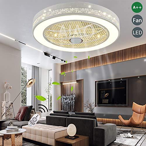 Luz Ventilador Invisible LED 36W Ventilador De Techo Lámpara De Ventilador Moderna Con Iluminación Lámpara De Techo Dormitorio Lámpara De Techo Regulable Adecuado Para Dormitorio Habitación De Bebé
