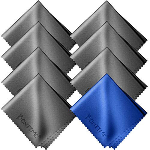 BONTIMEクリーニングクロスマイクロファイバー20cm×18cm(8枚セット/個別包装)グレー&ブルー