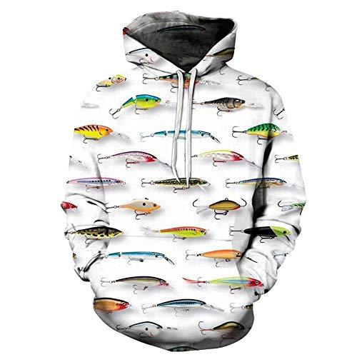 Chaqueta de Las Sudaderas con Capucha de la Manga de Hombres Outwear TopsPareja de impresión 3D de peces-LMWY904_SG