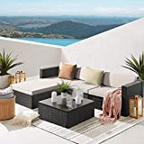 Waleaf 5 Pieces Patio Furniture Sets Black PE Rattan Wicker Sofa Set Lawn Conversation Sets with Glass Coffee Table for Backyard Porch Garden Poolside Balcony Sectional Set (5 Pieces, Beige)