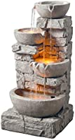 Peaktop 201601PT Water 4 Tiered Bowls Floor Stacked Stone Waterfall Fountain with LED Lights and Pump for Outdoor Patio...