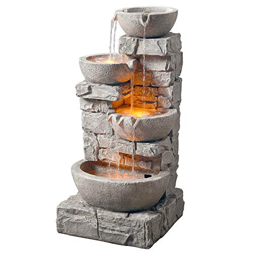 Peaktop 201601PT Water 4 Tiered Bowls Floor Stacked Stone Waterfall Fountain with LED Lights and Pump for Outdoor Patio Garden Backyard Decking Décor, 33 inch Height, Gray, 33