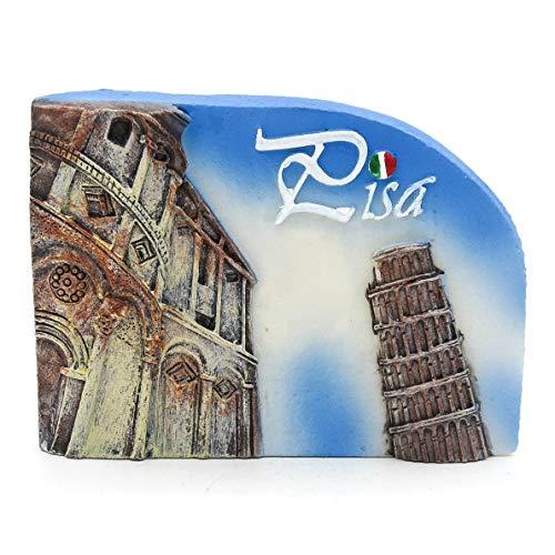 Torre di Pisa Pisa Italien 3D Handgemalte Harz Magnet Roman Rom Italienisch Venizia Kathedrale Kolosseum Venedig Brunnen Trevi Vatikan Florenz Pisa Lehnend Mailand Neapel Gondel Toskana Toscana Blau