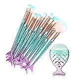 Juego de 10 brochas de maquillaje para base de maquillaje con forma de cola de pez, cerdas suaves para sombra de ojos, corrector con brocha en forma de pez