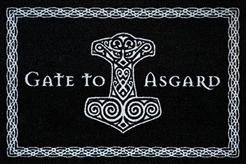 Gate To Asgard Fussmatte Wikinger Fußmatte Black Edition Schmutzmatte Türabstreifer Türmatte Odin Fußabstreifer Teppich doormat