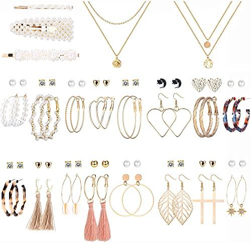 LOLIAS Juego de Joyería Bohemia De Moda Para Mujer Con 32 Pares De Pendientes Colgantes De Borla De Aro Acrílico De Gargantilla Pinzas Para El Pelo De Perlas Paquete De Joyas Surtidas Chapadas en Oro