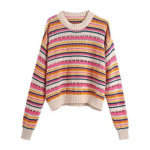 SHWPAKFA Las mujeres de rayas suéter de punto señoras vintage cuello redondo manga larga nuevo suéter chic estudiante de punto superior coreano otoño suéteres, multicolor, L