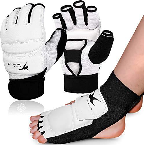 Taekwondo Handschuhe und Fußschutz Kickboxen Set, Fußschoner Knöchelbandage Größe S/M/L/XL für Kinder Männer Frauen, für Kampfsport MMA Freefight Boxing Sparring Training (S, Handschuhe/Fußschutz)