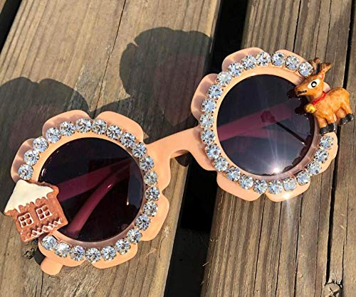 CIDCIJN Childrens Sunglasses,Gorgeous Diamond Baby Apricot Sunglasses Round Shades Party Eyewear Christmas Cartoon Design Handmade Kids Eyeglasses