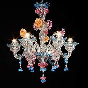 Lámpara de pared de Murano VITALE- 10 luces - Cristales decorativos acuamar y rubí