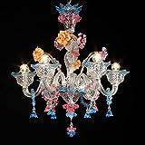 Lampadario Murano VITALE- 6 luci - Cristallo decori acquamare e rubino