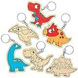Baker Ross AT671 Portachiavi Dinosauro in Legno da colorare, per progetti di artigianato artistico per bambini (confezione da 10), assortiti