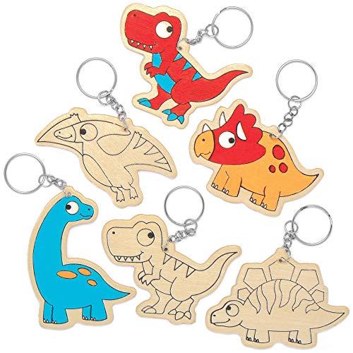 """Baker Ross Schlüsselanhänger """"Dinosaurier"""" aus Holz, für Kinder Kunsthandwerksprojekte (10 Stück)"""