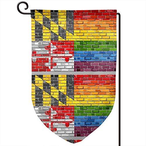 Maryland Gay LGBT Brick Wall Flag Personalise Theme Items Products Decoration Ornament Supplies Merch Garden Flag Vertical Double Sided Spring Summer Yard Outdoor 12 X 18 Inch