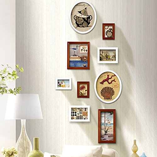 JXXDDQ Fotowand 16 Teile/Satz Bilderrahmen Bilderrahmen An Der Wand, Rahmen Für Heimtextilien Porta Retrato (Color : Walnut)