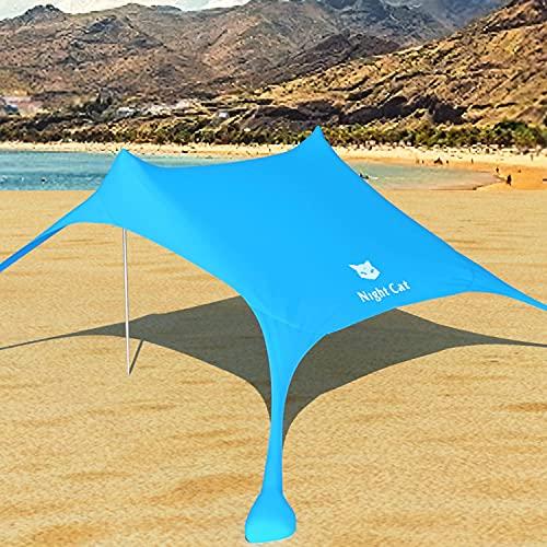 Night Cat Tenda da Spiaggia Baldacchino Parasole UPF 50+ Protezione UV con Pali Alluminio Ancoraggio Sabbia per Cortile Parco Spiaggia