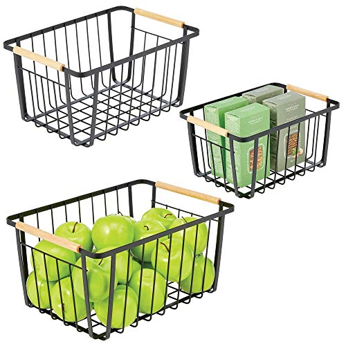 mDesign Farmhouse Decor Metal Wire Pantry, Home Organizer Storage Bin Basket - for Cabinets, Shelves, Countertops, Bathroom, Bedroom, Kitchen, Laundry Room, Closet - Set of 3 - Matte Black/Wood