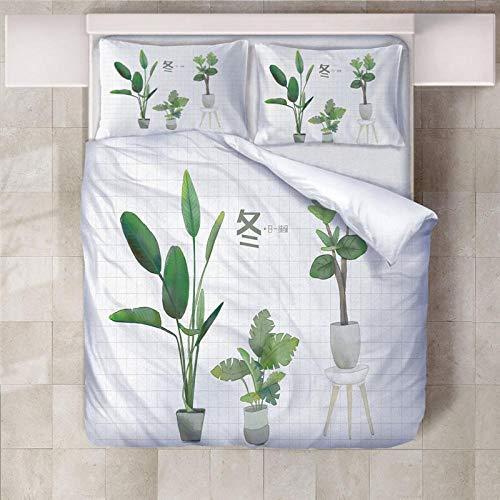 ARTEZXX 3D Bedding Set - Wit paneel groene plant Bedkleding Print voor Mooi patroon voor Voeg kleur toe aan uw bed(1 dekbedovertrek + 2 kussenslopen)