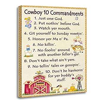 TORASS Canvas Wall Art Print Ten Cowboy 10 Commandments Farm Fun Western Artwork for Home Decor 12  x 16