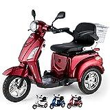 VELECO Scooter Eléctrico de 3 Ruedas Mayores Minusvalido 900W 25km/h ZT15 (Rojo)
