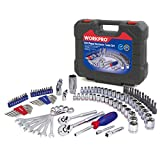 WORKPRO Drive Socket Wrench Set, 101-piece Mechanics Tools Kit 3/8-inch and 1/4-inch Quick-Release Ratchets, 6-Point SAE and Metric Sockets, with Blow Molded Case