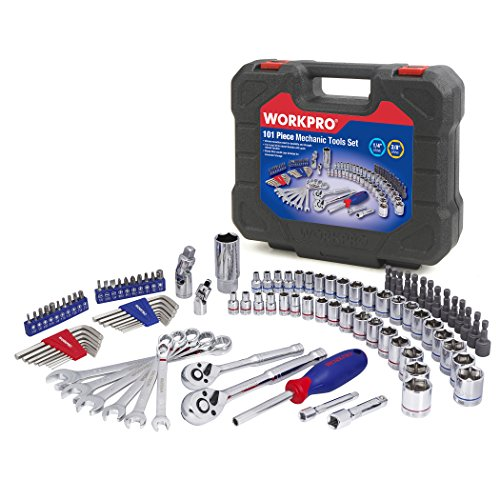 WORKPRO Drive Socket Wrench Set, 101-piece Mechanics Tool Set, 3/8-inch & 1/4-inch Quick-Release Ratchets, 6-Point Sockets, Tool Sets for Mechanics, SAE and Metric Set, With Blow Molded Case