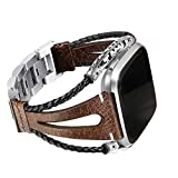 bayite Leather Bands Compatible with Fitbit Versa/Versa 2, Handmade Replacement Bracelet Straps Women Men, Coffee