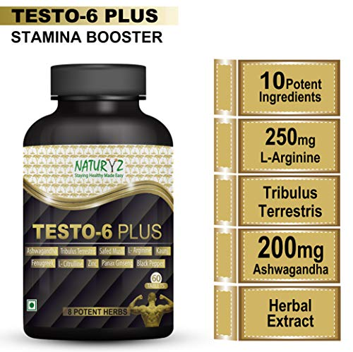 Naturyz Testo-6 Plus Supplement For Men with 250mg L-Arginine, 200mg Ashwagandha Extract, 100mg Tribulus, 100mg Kaunj and 10 potent ingredients -60 Tablets