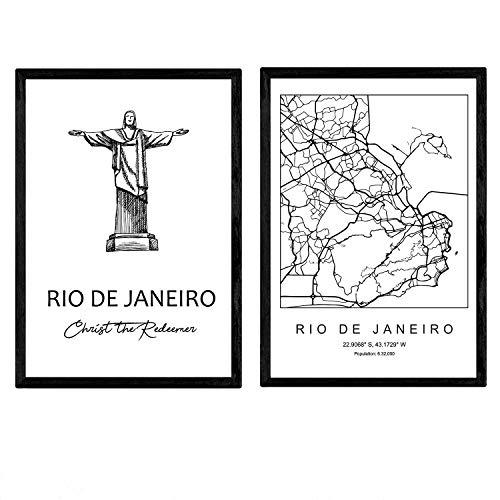 Pack de posters de Rio de Janeiro - El cristo redentor. Láminas con monumentos de ciudades. Tamaño A3