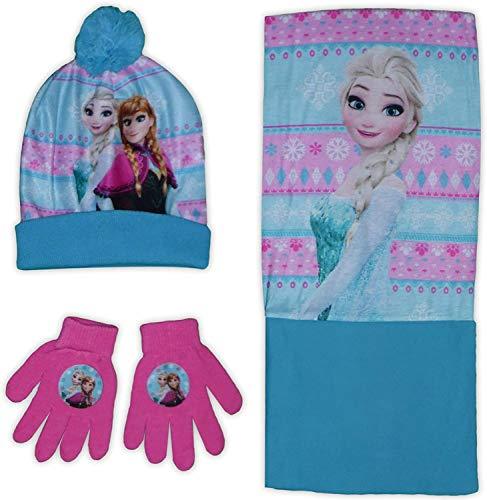 Disney Die Eiskönigin Mädchen Bommelmütze Handschuhe Snood Set