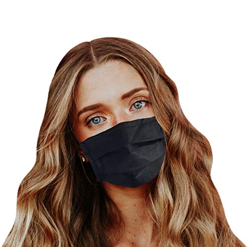 Protective Mouth Cover Face Mask Multi Layer Breathable Reusable and Washable Cloth for Individual and Family Use for Indoor Outdoor Home Office Travel (Black, 5 Pack)