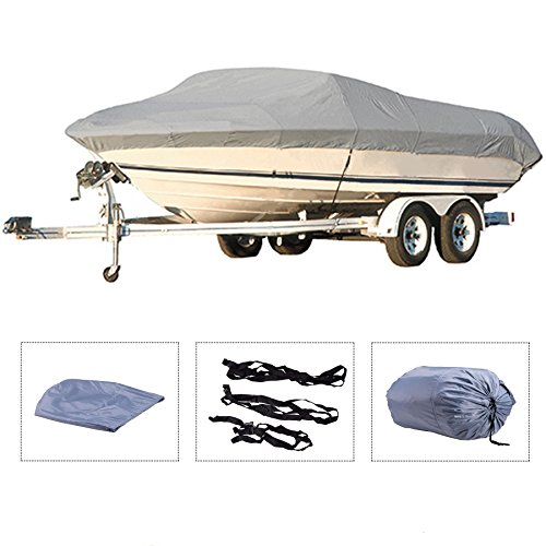 Pinty Oxford Cloth Heavy Duty Waterproof Trailerable Boat Cover fits 16' 17' 18' 19' Boats with...