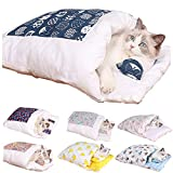 Adaye Movable Winter Warm Cat House Small Pet Bed, Winter Warm Cozy Warm Cat Sleeping Bag (S, A)