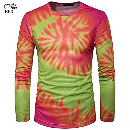 Herbst Männer Nner Whirlpool 3D Gedruckte Langarm Bequeme Größen T Shirt Fashion Lässige Slim Fit Rundhals T-Shirts Shirt Tops Kleidung (Color : Red 1, Size : 2XL)