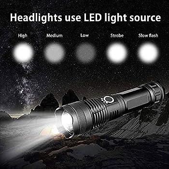 Lampe de poche LED 5000 lumens rechargeable par USB, tactique extrêmement lumineuse, 5 modes, zoomable, étanche, batterie 18650 incluse