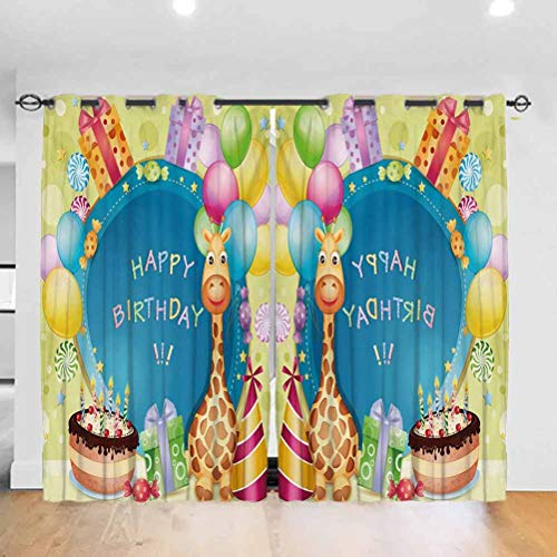 Kids Birthday Casual Textured Grommet Curtain Congratulation Best Wishes on the Blue Color Backdrop Party Balloons Print Room Darkening Blackout Drapes,bunk bed curtains Multicolor W84 X L90 inch
