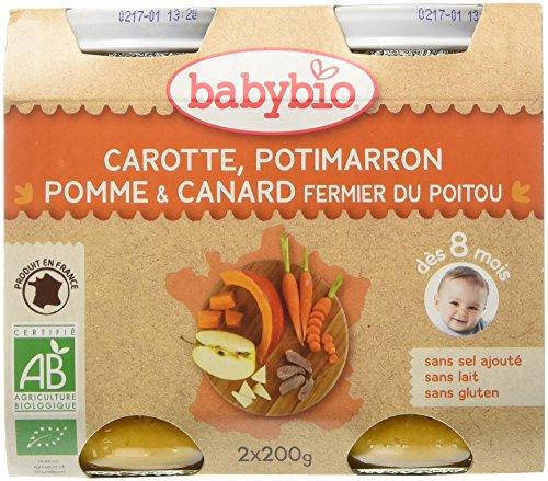 Babybio Pots Carotte Potimarron Pomme/Canard Fermier du Poitou 400 g - Lot de 6
