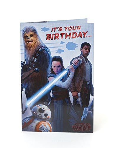 Geburtstagskarte – Star Wars Geburtstagskarte mit Chewbacca, BB-8, Rey und Finn, ideale Geschenkkarte – Star Wars Episode 8