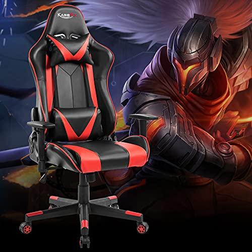Kasorix Rot Gaming Stuhl Atmungsaktives Leder Gamer Stuhl High Back Chefsessel mit Verstellbarer Armlehne Computerstuhl Belastbarkeit bis 150kg