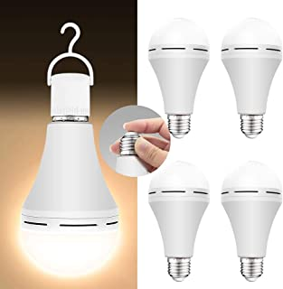Best 4 Pack Emergency-Rechargeable-Light-Bulb, 3000K Soft White Light Bulbs, Stay Lights Up When Power Failure, 1200mAh 15W 80W Equivalent LED Light Bulbs for Home, Camping, Tent (E27, with Hook) Review