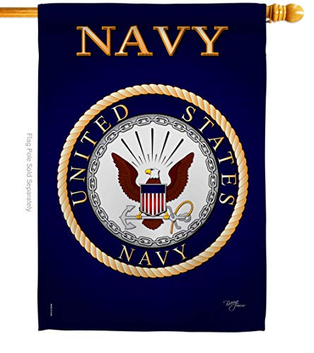 Breeze Decor Navy House Flag Armed Forces USN Seabee United State American Military Veteran Retire Official Decoration Banner Small Garden Yard Gift Double-Sided, 28'x 40', Made in USA