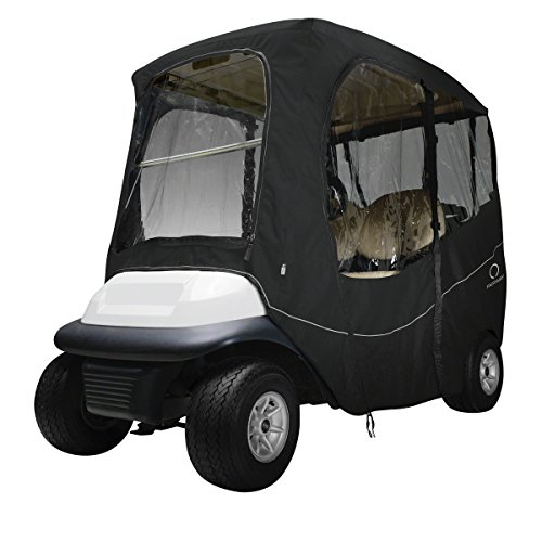 Classic Accessories Fairway Golf Cart Deluxe Enclosure, Black, Long Roof