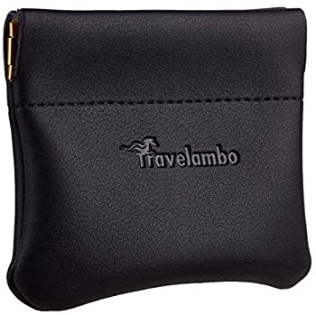 Travelambo Leather Squeeze Coin Purse Pouch Change Holder For Men & Women  01 Vintage Black