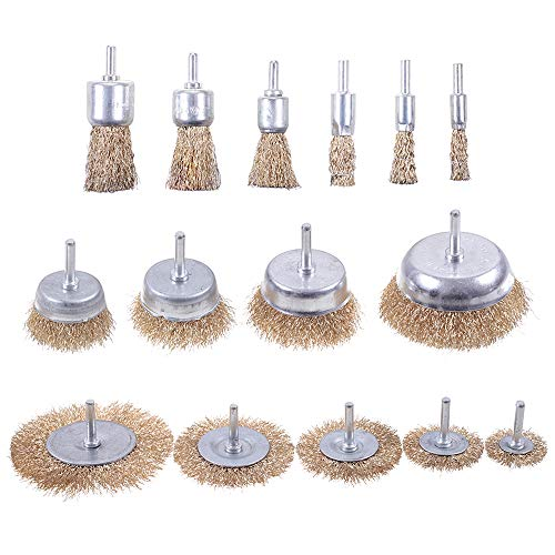 Rocaris 15 Pack Brass Coated Wire Brush Wheel & Cup Brush Set with 1/4-Inch Round Shank, Coated Wire Drill Brush Set Perfect For Removal of Rust/Corrosion/Paint