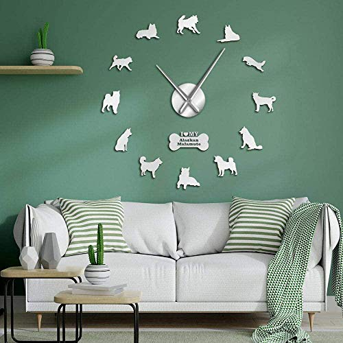 CCJIANI 3D Wall Clock Sticker Decoration Alaskan Malamute Dog Accurate Mute Wall Clock DIY Home/Office/Hotel_Silver-47 inches
