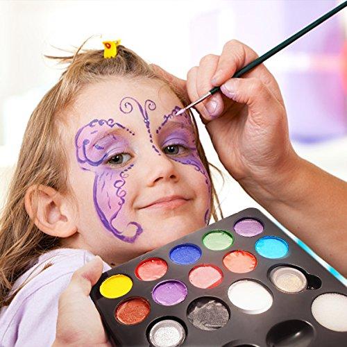 Pintura Cara 12 Colores, 2 Purpurinas, 3 Pinceles, 2 Esponjas, Maquillaje Arte...
