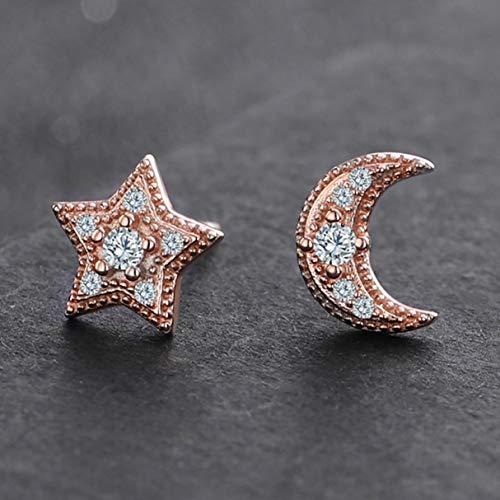 Pendientes de tuerca asimétricos con circonita de luna y estrella, para mujeres y niñas, regalo para amantes, plata