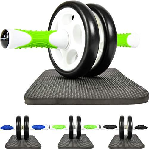 MSPORTS Bauchtrainer AB Roller Premium I Bauchtrainer mit Knieauflage I Bauchroller mit Komfortgriffen I Bauchmuskeltrainer I AB Wheel Muskeltrainer (Grün-Weiß)